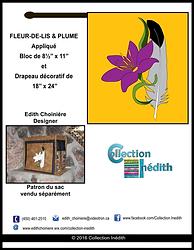 Patron d'appliqué pour la courtepointe - patchwork - Fleur-de-lis et plume - Collection Inédith