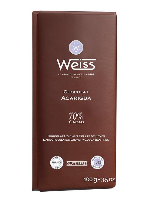 Tablette de chocolat ACARIGUA 70% 100g