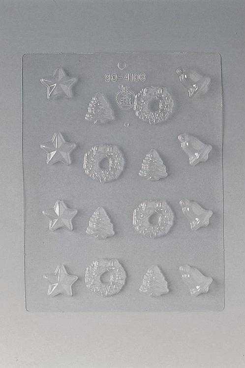 Plaque pour chocolat 240 x 185 mm - 16 sujets de Noël réf. 81520