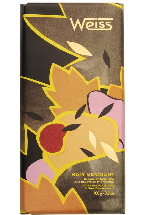 Tablette de chocolat Noir Mendiant 100 g