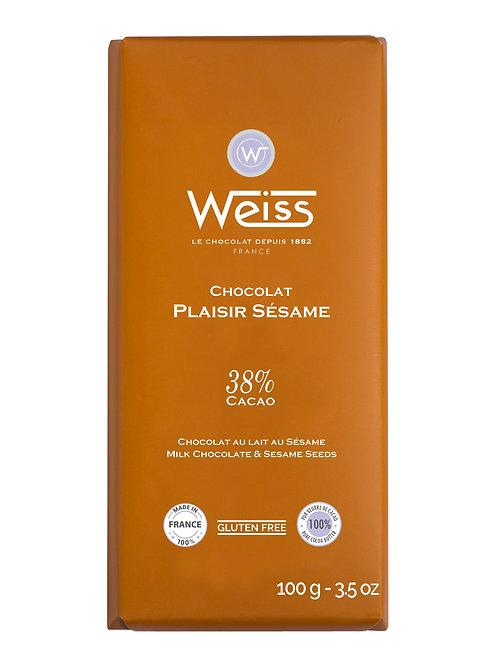 Tablette de chocolat Plaisir Sésame 100g