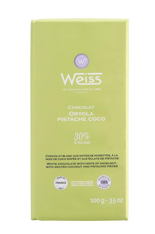 Tablette de chocolat ORYOLA pistache coco 100g