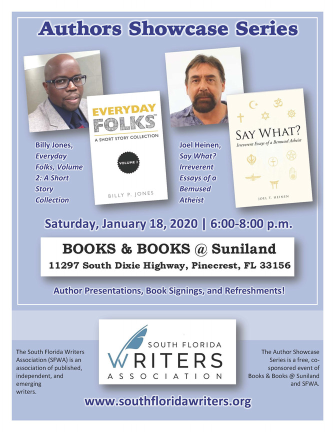 Meet Billy Jones on 1-18-20 at Books & Books @ Suniland, Pinecrest, FL
