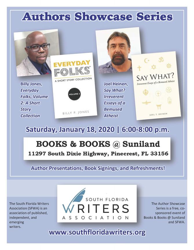 Meet Billy Jones on 1-18-20 at Books & Books @ Suniland, Pinecrest, FL