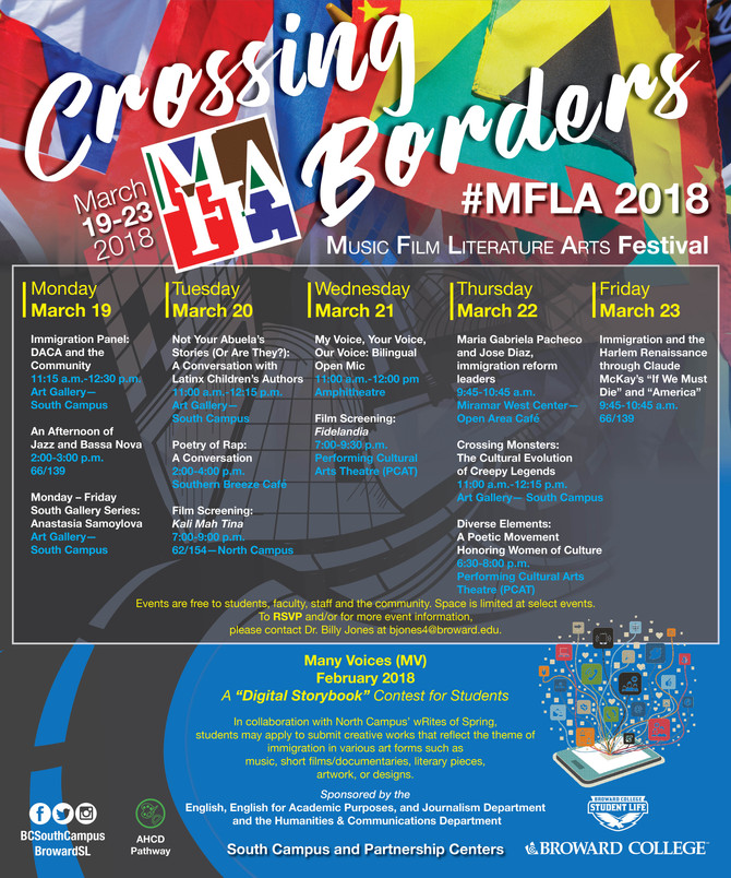 Festival of Music, Film, Literature and Art (MFLA) at Broward College's South Campus and the Par