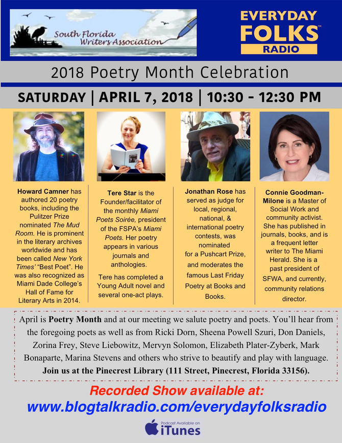 South Florida Writers Association-- 2018 Poetry Month Celebration (taped on 4-7-18... airs 4-22-18)