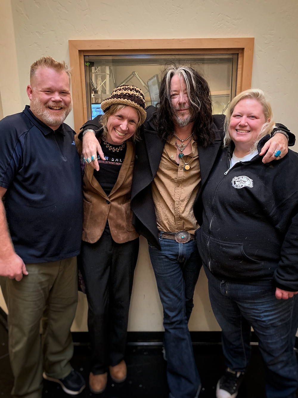KLPX radio interview: (from l. host Frank Brinsley, Maggie, Brian and show co-host Kristine Levine