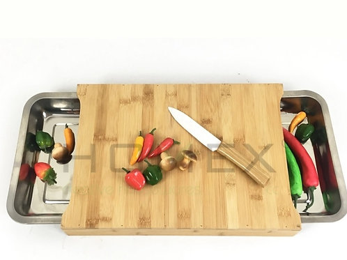 Bamboo Chopping Block with Two Metal Drawer Tray Homex_BSCI Factory