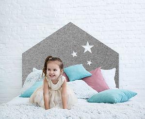 Kids Grey Felt Bed Head with beautiful little girl in stlish kids bedroom