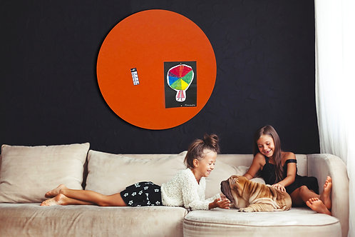 80cm Orange Contemporary Circle Pinboard