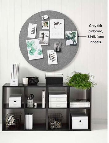 Your Home and Garden Magazine Article, February 2018 featuring Pinpals Grey Circle Pinboard