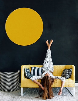 110cm Mustard Contemporary Circle Pinboard