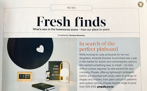 Your Home and Garden Magazine Article, October 2017 featuring Pinpals Navy Circle Pinboard