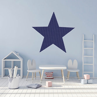 Star Pinboard in Navy Spot Fabric