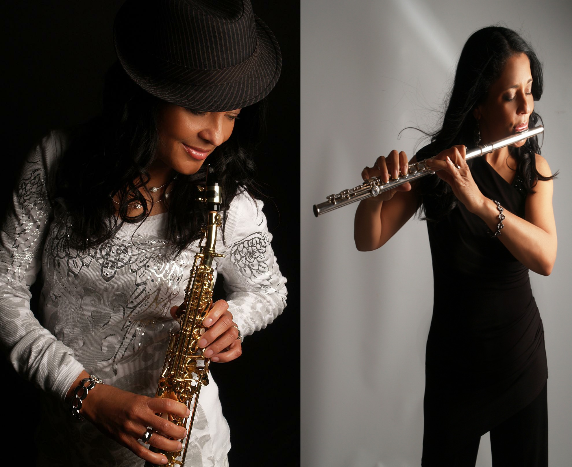 Female Saxophone and Flute Player
