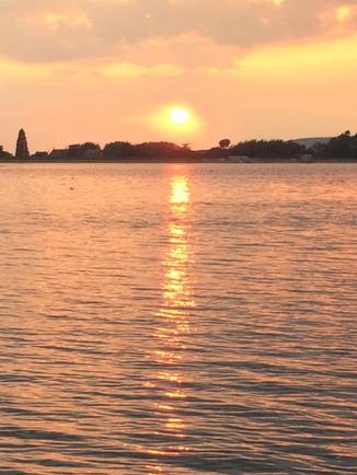 sunset over Blagdon lake.JPG