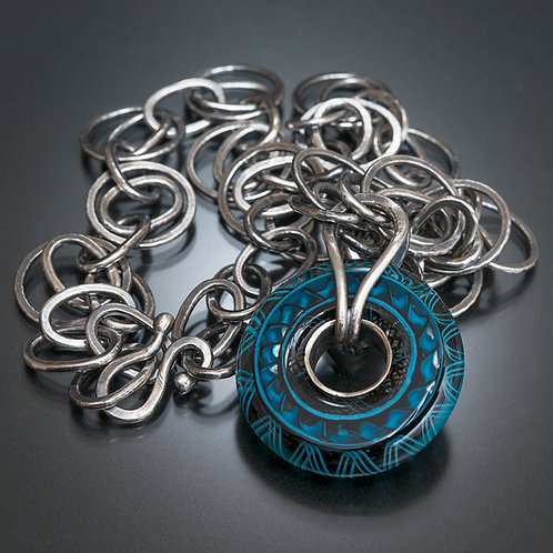 Heather Trimmlett Disk Lampwork Bead & Fine Silver Chain