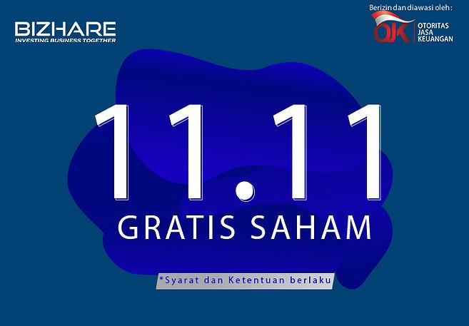 Promo 11.11 : Beli Saham Gratis Saham hanya di Bizhare