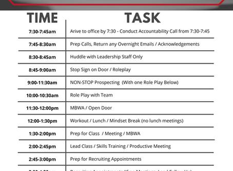 Top Producing Team Leader/Broker Schedule