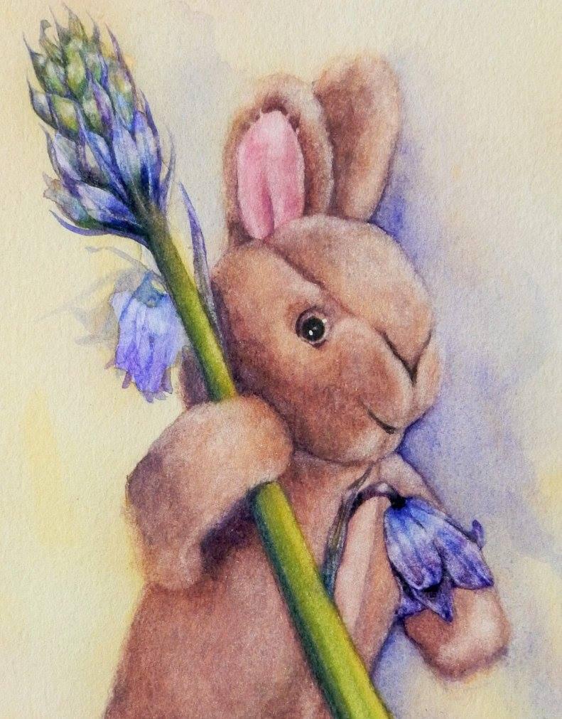 bluebells bunny watercolour