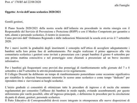 COMUNICAZIONE AVVIO ANNO SCOLASTICO 2020/2021