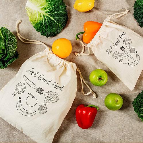 Cotton Fruit & Veg Bags - Set of 2