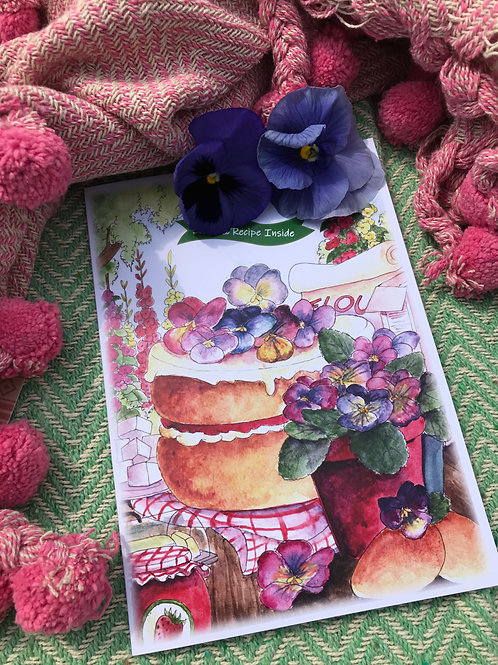 Strawberry and Pansy Cake Recipe Card