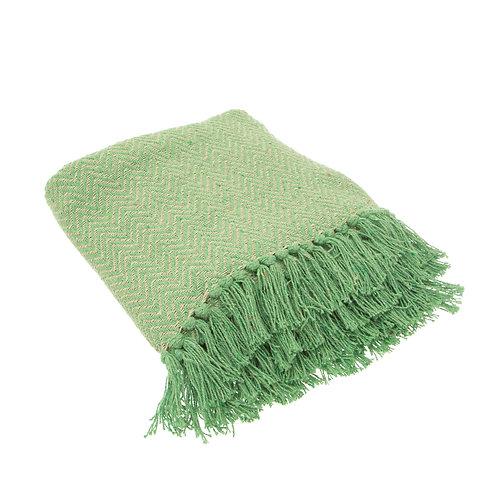 Green Herringbone Throw