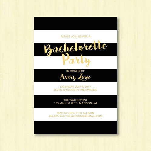 Black & White Striped Bachelorette (Set of 25)