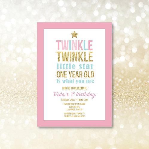 Twinkle Twinkle Little Star Birthday Invitation (Set of 25)