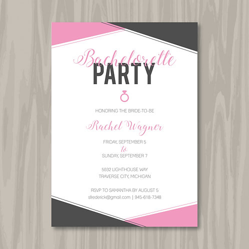 Pretty in Pink & Charcoal Bachelorette (Set of 25)