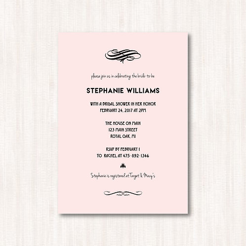 Simple Pink Bridal Shower Invitation (Set of 25)
