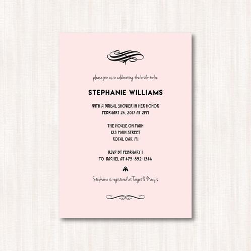 Simple pink bridal shower invitation set of 25 custom simple pink bridal shower invitation set of 25 filmwisefo Images