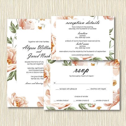 Floral Frame Invitation Set (Set of 25)