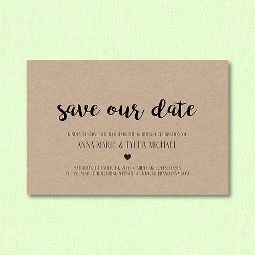 Kraft Save the Date (Set of 25)