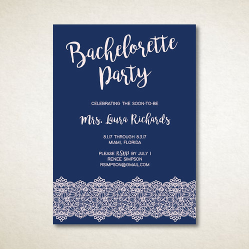 Navy & Pink Lace Bachelorette (Set of 25)