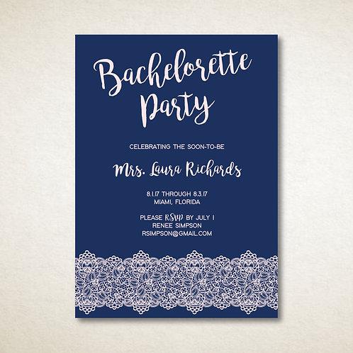Navy & Pink Lace Bachelorette (Set of 25)
