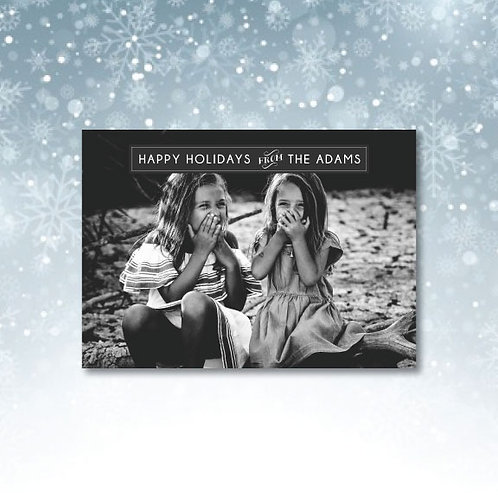simple holiday card in black and white