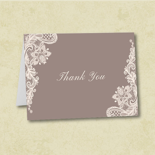 Ivory Lace Thank You (Set of 25)
