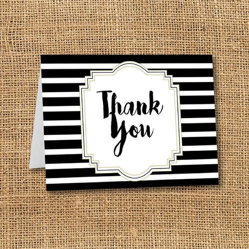 Black & White Stripes Thank You (Set of 25)
