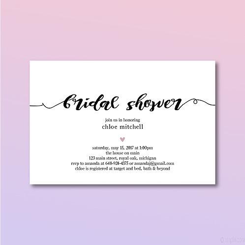 Calligraphic Shower Invitation (Set of 25)