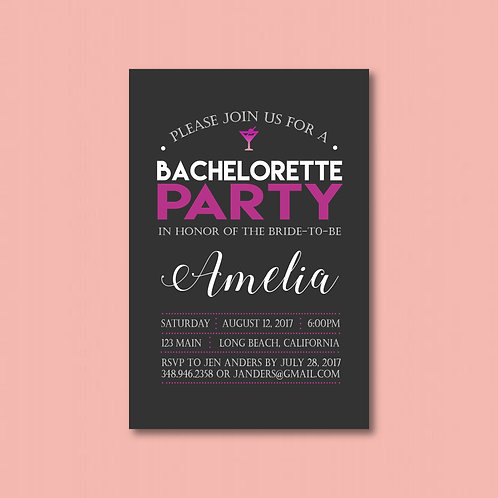 Charcoal & Pink Bachelorette (Set of 25)