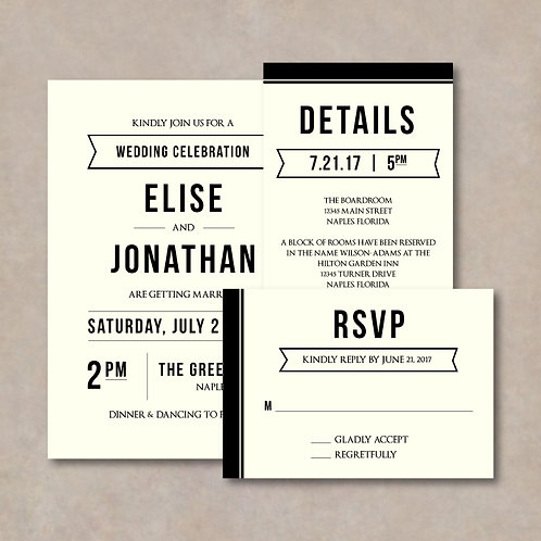 Modern Invitation Set (Set of 25)