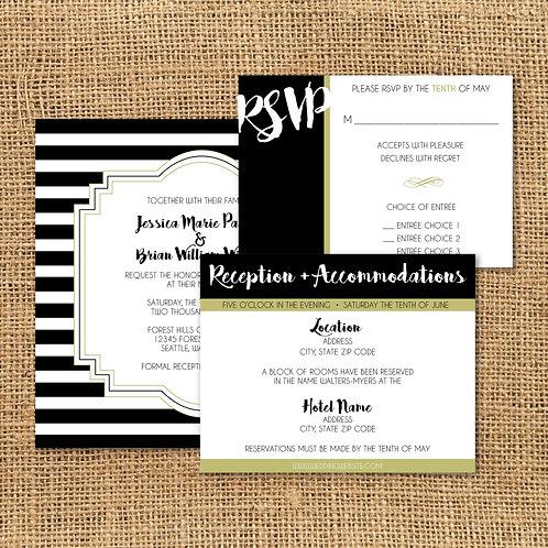 Striped Invitation Set (Set of 25)