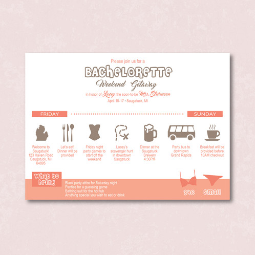 Weekend Getaway Bachelorette Set of 25 Custom Invitations Troy