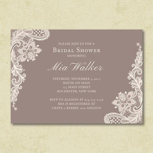 Ivory Lace Shower Invitation (Set of 25)