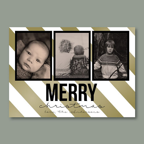 Golden Stripes Christmas Card (Set of 25)