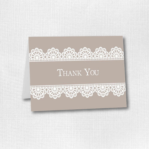 White Lace Thank You (Set of 25)