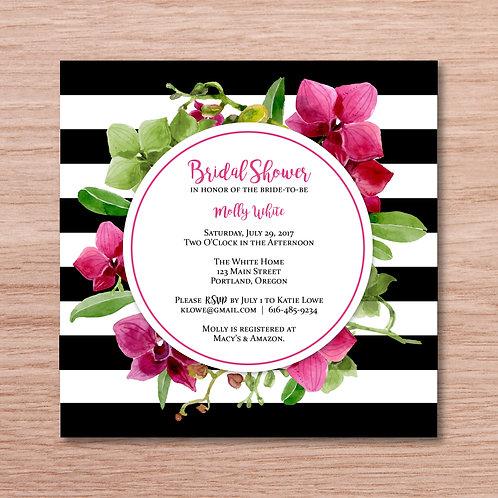 Striped Floral Shower Invitation (Set of 25)