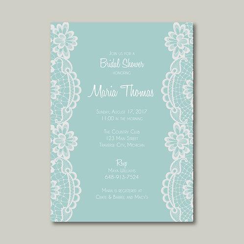 Tiffany Lace Shower Invitation (Set of 25)